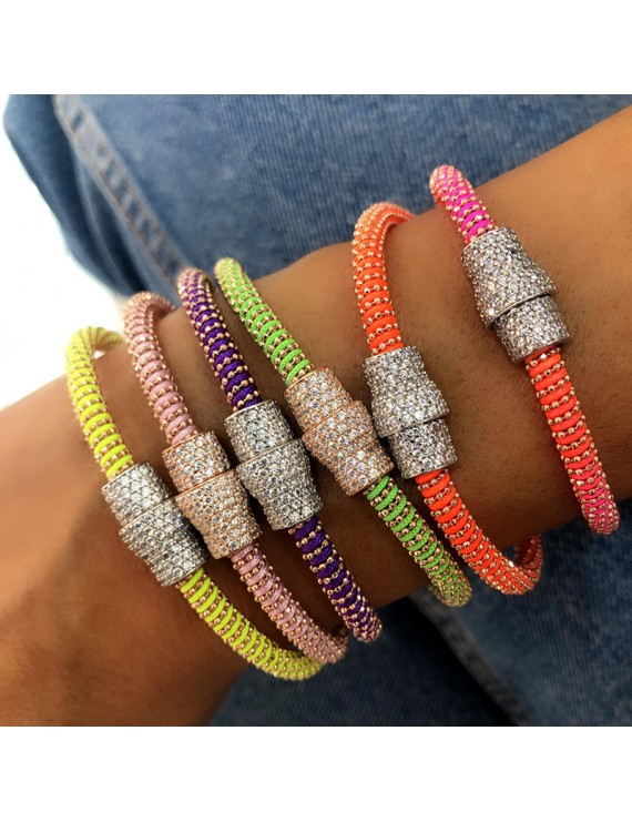 MIX NEON COLORFUL IN MIDDLE FULL STONE SILVER BRACELET