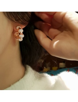 RING BOMB STONE ROSE SILVER EARRING