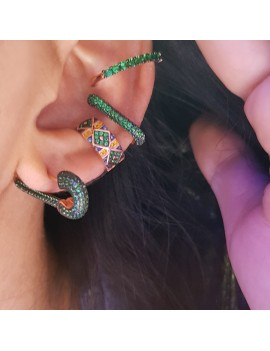 COMBINATION GREEN SILVER EARRING