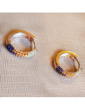 COLORFUL STONE RING SILVER EARRING