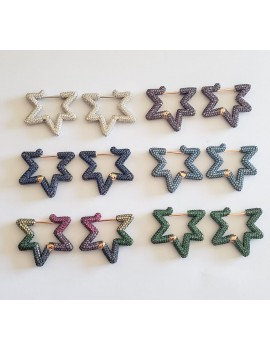 COLORFUL STAR  SILVER EARRING