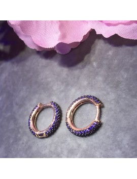 PURPLE STONE FULL ROUND MEDIUM SIZE SILVER EARRING