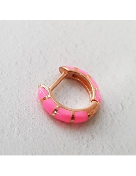 SINGLE PINK COLOR NEON SNAPS SILVER EARRING