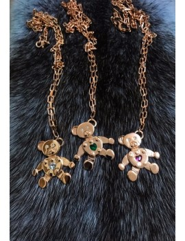 TEDDY GREEN STONE ROSE NECKLACE