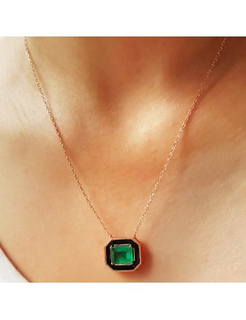MINED EDGES ROOT EMERALD STONE SILVER NECKLACE