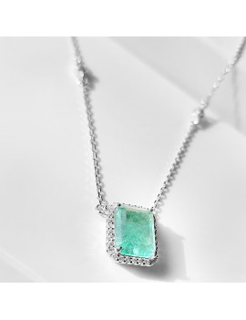 EDGES WITH STONE PARAIBA TOURMALINE SILVER NECKLACE