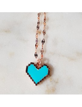 BLUE NEON COLOR HEART SILVER NECKLACE