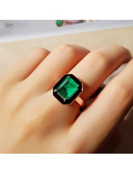 SQUARE ROOT EMERALD STONE SILVER RING