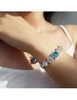 BLUE AND WHITE BAGET STONE ELEVATOR BRACELET