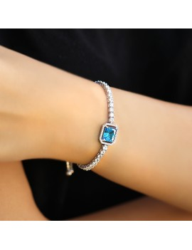 BLUE FANCY CUT WATER WAY SILVER BRACELET