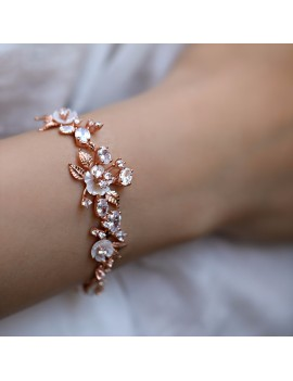 SPECIAL DESIGN SILVER BRACELET WITH FLOWERS