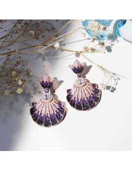 SEA SHELLED COLOR SILVER EARRINGS
