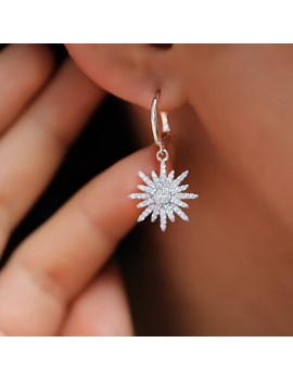 NORTH STAR ZIRCON STONE SILVER EARRING