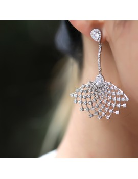 DIAMOND FAN MONTUR SILVER EARRING