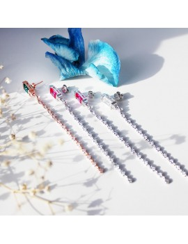 COLOR FANCY STONE LONG CHAIN ​​SILVER EARRINGS
