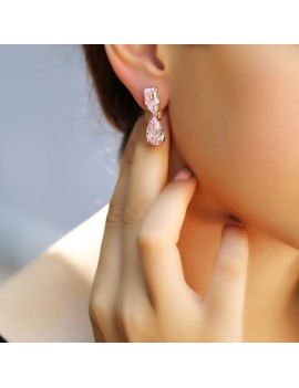 DROP MODEL FANCY STONE ELEGANT SILVER EARRING