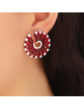 FANCY ZIRCON STONE HALF TOUR SILVER EARRING