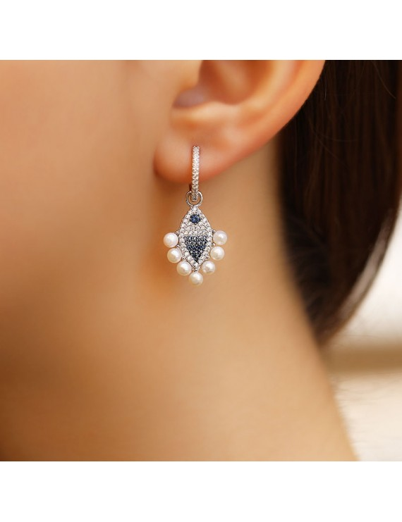 FISH FIGURED PEARL WITH OTHER SIDE RING EARRING