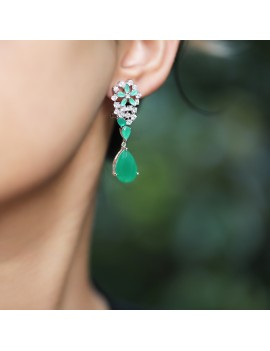 FLOWER AND GREEN STONE DROP FIGURED EARRING