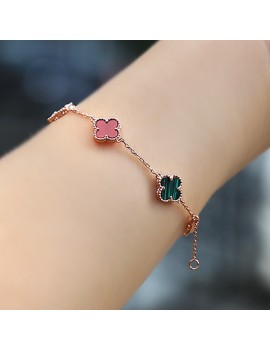 COLOR STONE ROSE PLATED CLOVER SILVER BRACELET
