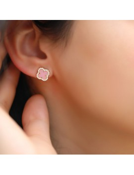 PINK STONE GOLD PLATED Clover EARRINGS