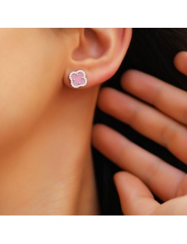 PINK STONE CLOVER SILVER EARRING