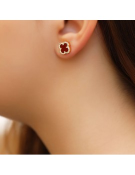 RED STONE GOLD PLATED CLOVER SILVER EARRINGS