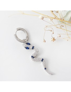 SILVER EARRING WITH BLUE STONE Snake FIGURED
