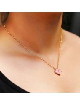 PINK QUARTZ FLOWER SILVER NECKLACE