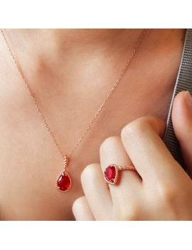 RED STONE DROP MODEL SILVER SET