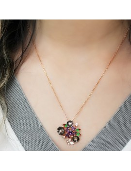 FLOWER FIGURED SILVER NECKLACE