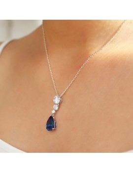 BLUE DROP SILVER NECKLACE