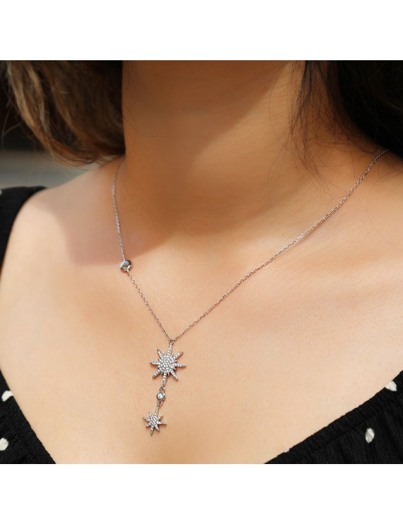 DOUBLE NORTH STAR SILVER NECKLACE