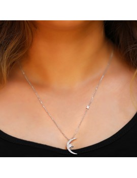 NORTH STAR ZIRCON SILVER NECKLACE WITH ELEVATOR