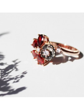 RED FLOWER SILVER RING