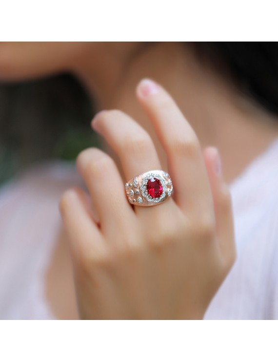 LARGE OVAL RED STONE SILVER RING