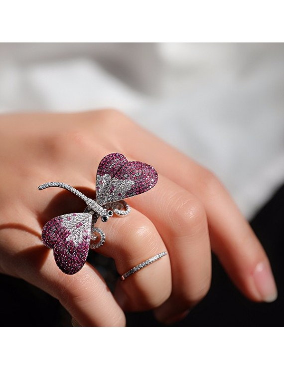 BUTTERFLY FIGURED SILVER RING