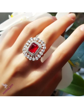 RED ONE STONE SILVER RING WITH BAGET STONES
